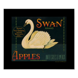 KRW Vintage Swan Apple Fruit Crate Label Poster