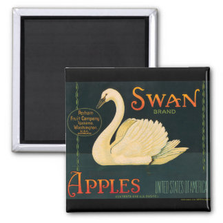 KRW Vintage Swan Apples Fruit Crate Label Magnet
