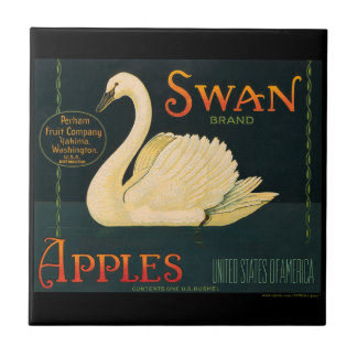 KRW Vintage Swan Apples Fruit Crate Label Small Square Tile