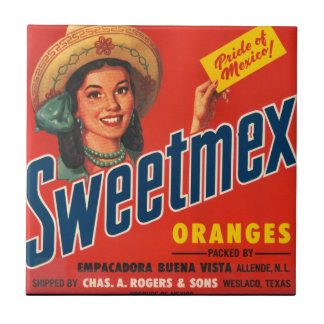 KRW Vintage Sweet-Mex Orange Crate Label Magnet Small Square Tile