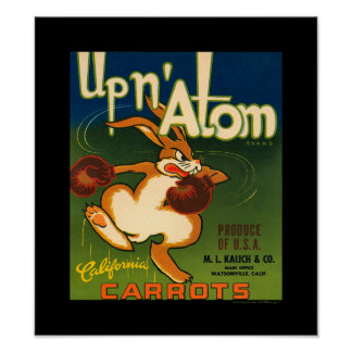 KRW Vintage Up N Atom Carrots Veggie Label Poster