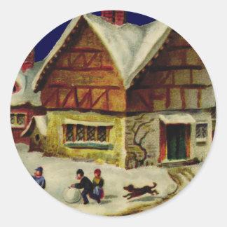 KRW Vintage Winter Scene Holiday Sticker