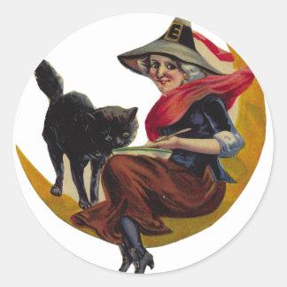KRW Vintage Witch and Black Cat Halloween Sticker