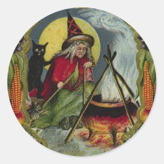 KRW Vintage Witch and Cauldron Halloween Sticker