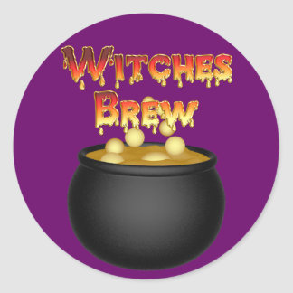 KRW Witches Brew Cauldron Halloween Round Sticker