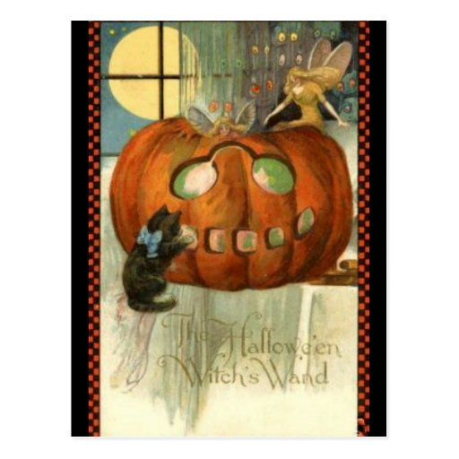 KRW Witches Wand Vintage Halloween Post Cards