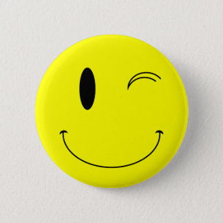 KRW Yellow Winking Smiley Face 6 Cm Round Badge
