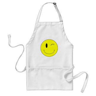 KRW Yellow Winking Smiley Face Apron