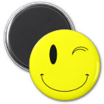 KRW Yellow Winking Smiley Face Refrigerator Magnet