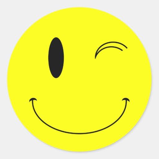 KRW Yellow Winking Smiley Face Round Sticker