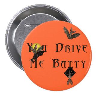 KRW You Drive Me Batty Halloween Pinback Buttons