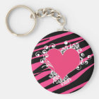 KRW Zebra Heart Swirls Pink and Black Name Keyring
