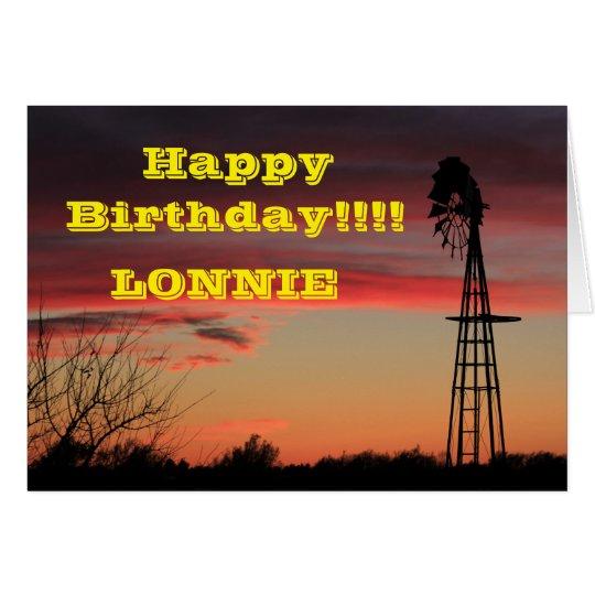 Ks Firey Windmill Sunset Birthday Greeting Card