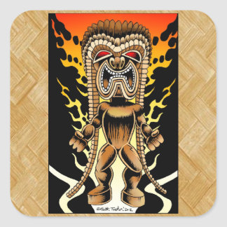 Ku, Hawaiian Tiki God Square Sticker