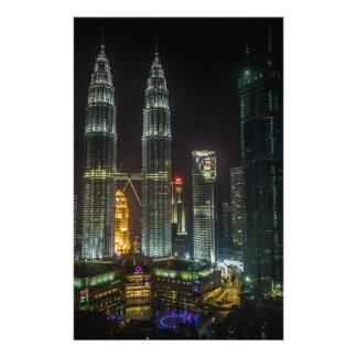Kuala Lumpar Skyline At Night Stationery