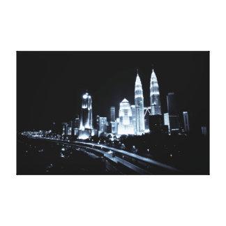 Kuala Lumpur beautiful night lights scenery Stretched Canvas Print