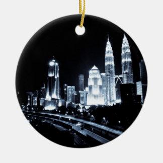 Kuala Lumpur beautiful night lights scenery Round Ceramic Decoration