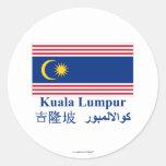 Kuala Lumpur flag with name Round Sticker