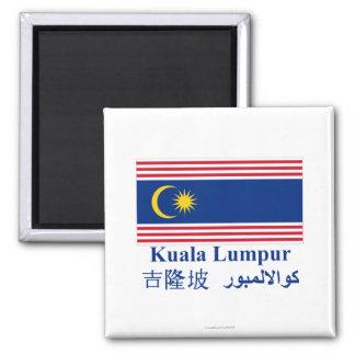 Kuala Lumpur flag with name Square Magnet