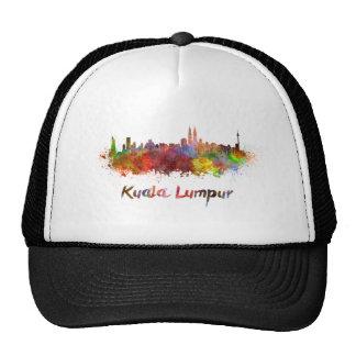 Kuala Lumpur skyline in watercolor splatters Gorros