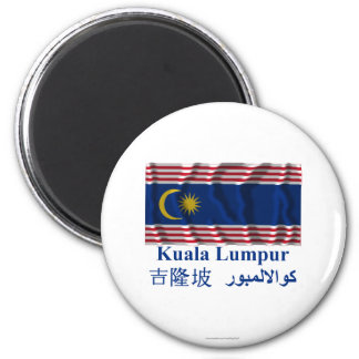Kuala Lumpur waving flag with name Magnet