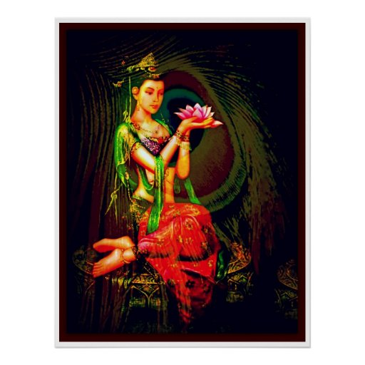 Kuan Yin and The  Peacock Feather Poster