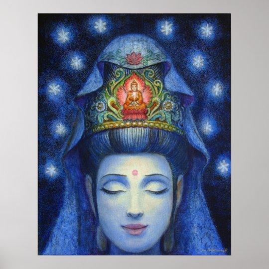 Kuan Yin Buddha Meditation Art Poster Print