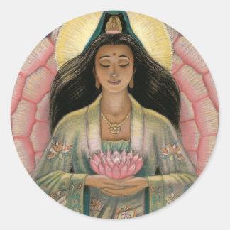 Kuan Yin Goddess of Compassion Classic Round Sticker
