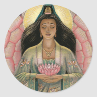 Kuan Yin Goddess of Compassion Round Sticker