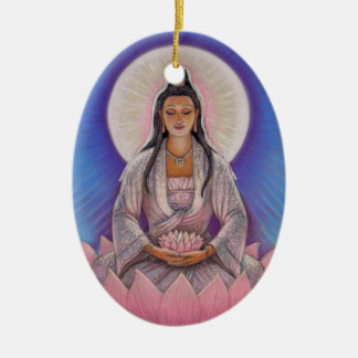 Kuan Yin Oval Christmas Ornament