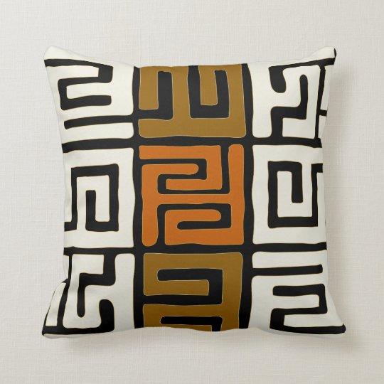 Kuba Cloth Inspired Earth Colours Geometric Cushion