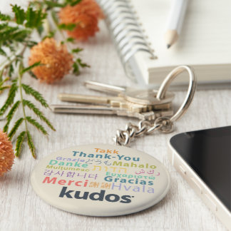 Kudos® Thank-you Basic Round Button Key Ring