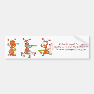 Kukie and tooth brushing bumper sticker