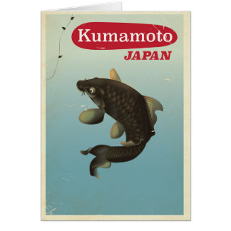 Kumamoto Japan vintage style travel poster Card