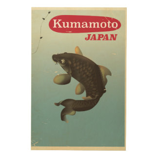 Kumamoto Japan vintage style travel poster Wood Canvas