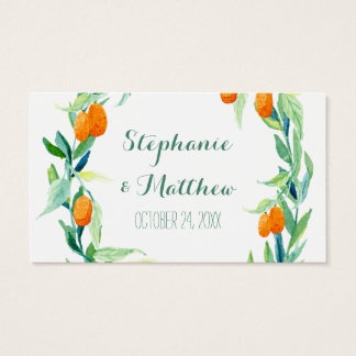 Kumquat Laurel Leaf Wreath Wedding Favor Gift Tags
