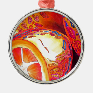 Kumquats orange citrus watercolour fruit art Silver-Colored round decoration