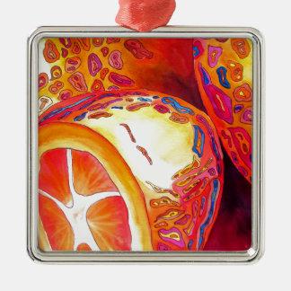 Kumquats orange citrus watercolour fruit art Silver-Colored square decoration