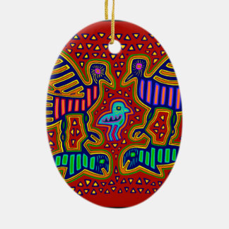Kuna Indian Birds with Fish Christmas Ornament
