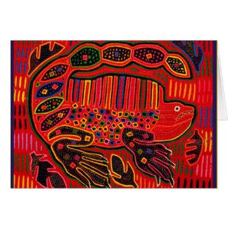Kuna Indian Iguana Mola Greeting Card