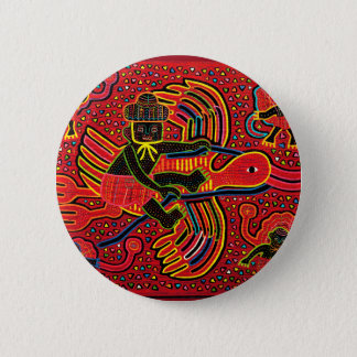 Kuna Indian Stork Bringing Baby Design 6 Cm Round Badge