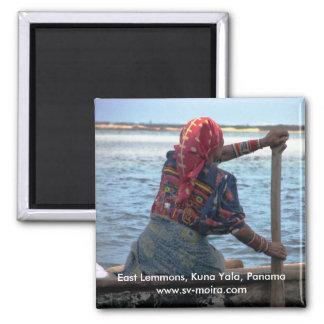 Kuna woman paddling ulu, East Lemmons, Kuna Yala Square Magnet