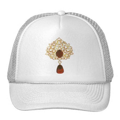 Kundan & ruby brooch mesh hat