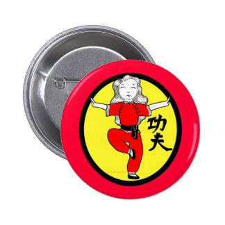 Kung Fu Crane Stance Girl 6 Cm Round Badge