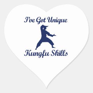 kung fu martial art designs heart stickers