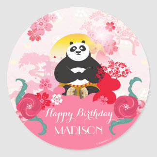 Kung Fu Panda | Pink Floral Birthday Classic Round Sticker