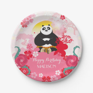 Kung Fu Panda | Pink Floral Birthday Paper Plate