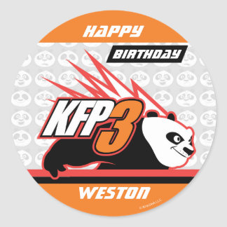 Kung Fu Panda | Po Striped Birthday Classic Round Sticker