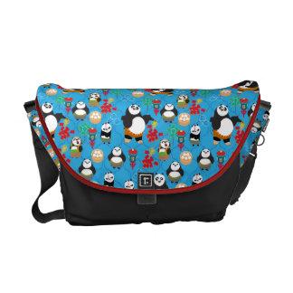 Kung Fu Pandas Blue Pattern Courier Bag