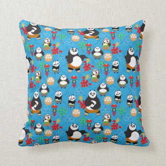Kung Fu Pandas Blue Pattern Cushion
